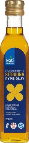 Kotimaista 250Ml Sitruunalla Maustettu Kylmäpuristettu Rypsiöljy