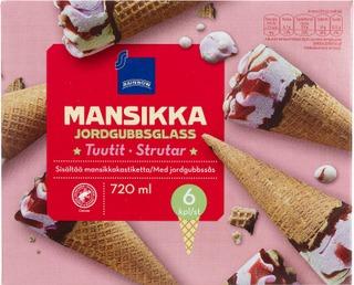 Mansikan- Ja Vaniljanmakuista Jäätelöä, Mansikkakastiketta 5% Vohvelissa 16%, Suklaanmakuinen Kuorrute 7%.