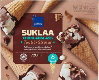 Suklaanmakuista Jäätelöä Ja Vaniljanmakuista Jäätelöä Vohvelissa 16%, Suklaanmakuinen Kuorrute 12%, Sokeripaahdettuja Hasselpähkinöitä 1,5%.