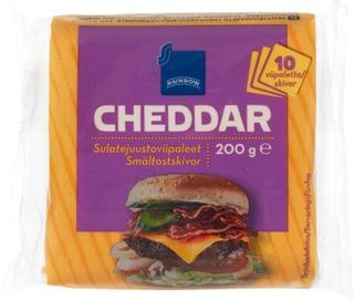 Yksittäispakattu Cheddarsulatejuustoviipale, 23% Rasvaa.
