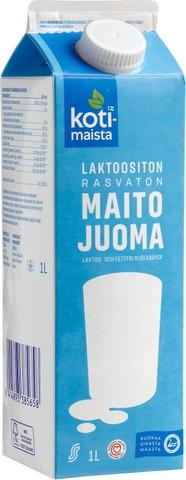 Kotimaista 1L Laktoositon Rasvaton Maitojuoma