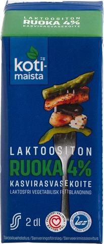 Kotimaista laktoositon maitopohjainen kasvirasvasekoite 4% 2dl