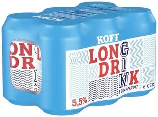6-pack KOFF Long Drink Greippi 5,5 % tölkki 0,33 L