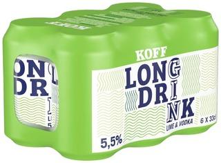 6-Pack Koff Long Drink Lime 5,5 % Tölkki 0,33 L