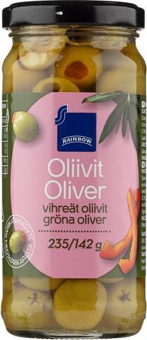 Rainbow 235/142G Vihreät Oliivit Paprikatahnatäytteellä