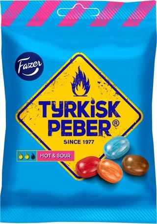Fazer Tyrkisk Peber Hot & Sour 150G Pippurisia Salmiakkihedelmäkaramelleja