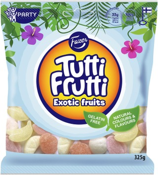 Fazer Tutti Frutti Exotic Fruits Natural Karkkipussi 325 G