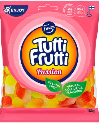 Fazer Tutti Frutti Passion Karkkipussi 180G