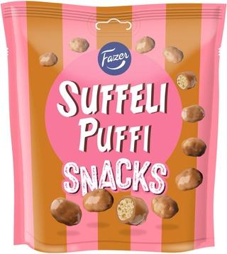 Fazer Suffeli Puffi Snacks 180G -Pussi Sisältäen Maissipuffeja Suklaanmakuisella Kuorrutteella