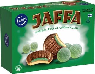 Jaffa Vihreät kuulat 300g 24kpl suklaalla kuorrutettu leivoskeksi, joissa marmeladitäytettä