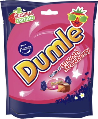 Fazer Dumle Seasonal Strawberry toffeekarkkipussi 220g