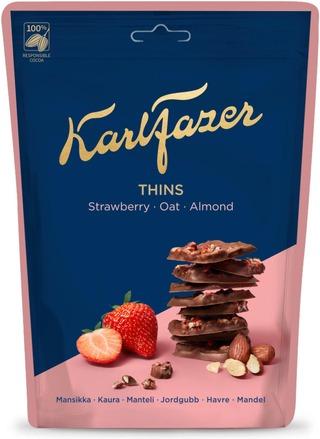 Karl Fazer Crunchy Thins Mansikka Kaura Suklaapaloja 90G