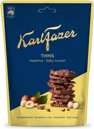Karl Fazer Thins Hasselpähkinä Suolainen Crisp Suklaapaloja 90G