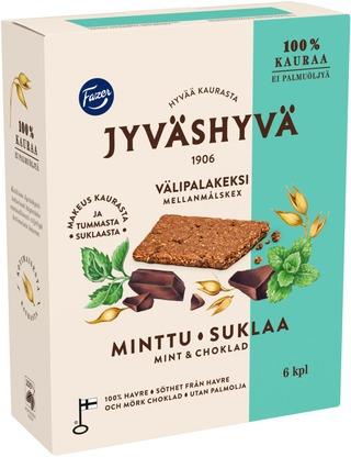 Fazer Jyväshyvä Minttusuklaa Välipalakeksi 6X30g 180 G