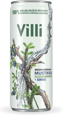 Villi Mehukivennäisvesi Mustikka-Kuusenkerkkä +Sinkki 0,33 L