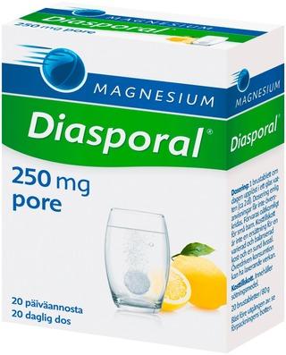 Diasporal Sitruunanmakuinen Magnesium 250Mg Poretabletti Ravintolisä 80G/20Tabl