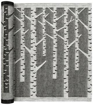 Lapuan Kankurit Koivu laudeliina valko-musta pellava-puuvilla 46x150cm