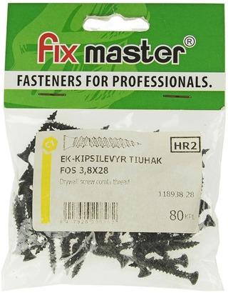 Fix Master Ek-Kipsilevyruuvi Tiuhakierre 3,8X28 80Kpl