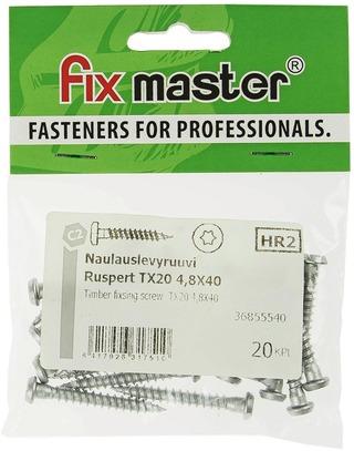 Fix Master Naulauslevyruuvi Ruspert-Pinnoitettu Torx20 4,8X40 20Kpl
