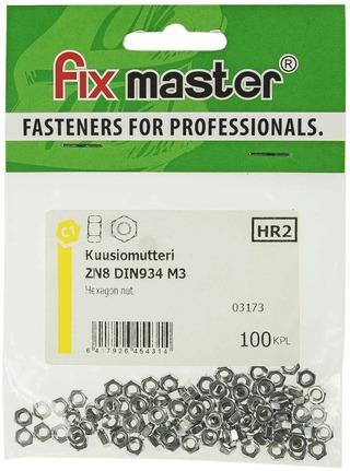 Fix Master Kuusiomutteri M3 Sinkitty 100Kpl