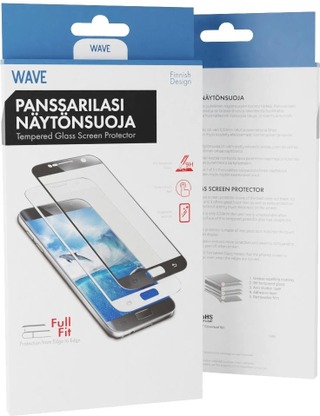 Wave Full Cover Panssarilasi, Honor Play, Musta Kehys