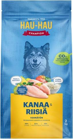 Hau-Hau Champion Kana-Riisi Täysravinto Kaikille Aikuisille Koirille 2 Kg