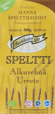 Birkkalan Luomu Mannaspelttijauhot Täysjyvä 800G
