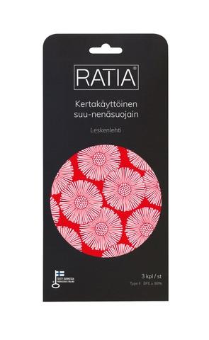 Ratia-Designmaski, Leskenlehti, 3Kpl, Kertakäyttöinen Suu-Nenäsuojain, Ce-Merkitty