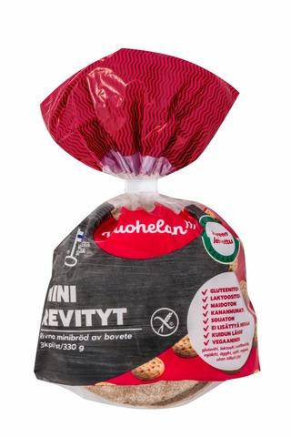 Vuohelan Gluteeniton Mini Revityt 3/330G Revitty Hapan Tattarileipä
