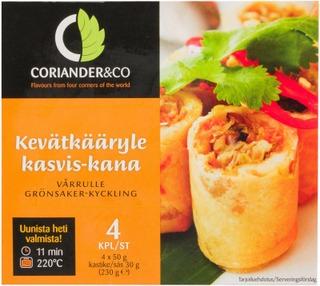 Coriander&Co 4X50g Kasvis-Kana Kevätkääryle + 30G Dippikastiketta