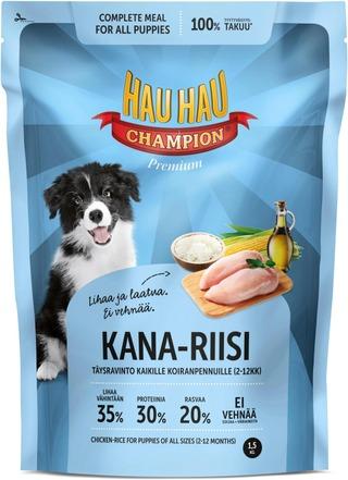 Hau-Hau Champion Kana-Riisi Täysravinto Koiranpennuille 1,5Kg
