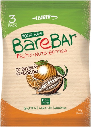 Leader Barebar  Taatalipatukka Appelsiini-Raakakaakao 3X40 G