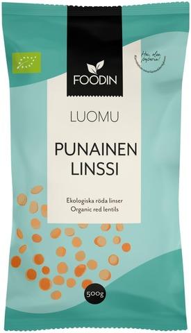 Foodin Punainen Linssi Luomu 500G