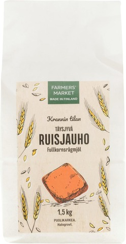 Farmers Market Krannin Tilan Täysjyväruisjauho Puolikarkea 1,5Kg