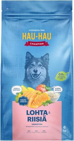 Hau-Hau Champion Lohi-Riisi Täysravinto Kaikille Koirille 6 Kg