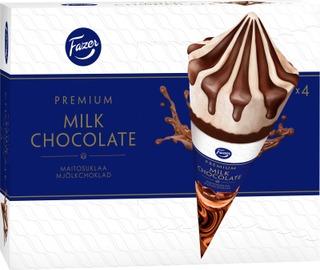 Fazer Premium Kermajäätelötuutti Monipakkaus Chocolate 4X81g