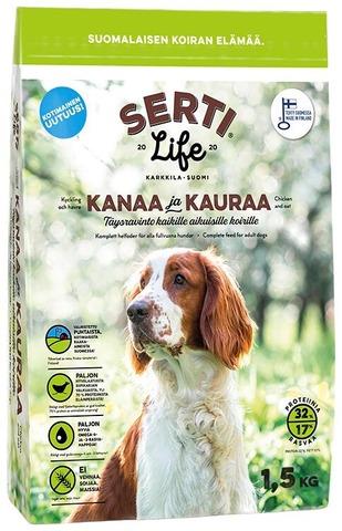 Sertilife Kanaa Ja Kauraa, Kotimainen Täysravinto Kaikille Aikuisille Koirille.