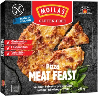 Moilas Gluten-Free, Gluteeniton Meat Feast Pizza 265G, Pakaste