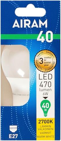 Airam Led 6W Vakiolamppu Opaali E27 470Lm 2700K