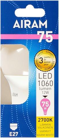 Airam Led 12W Vakiolamppu Opaali E27 1060Lm 2700K