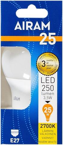 Airam Led 3,5W Vakiolamppu Opaali E27 250Lm 2700K
