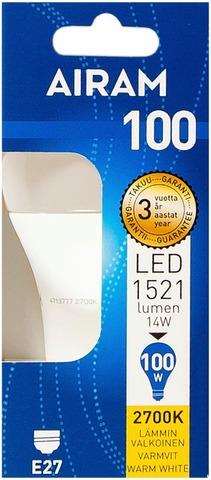 Airam Led 14W Vakiolamppu Opaali E27 1521Lm 2700K