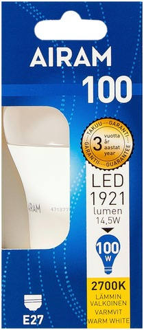 Airam Led 14,5W Vakiolamppu Opaali E27 1921Lm 2700K