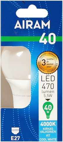 Airam Led 5,5W Vakiolamppu Opaali E27 470Lm 4000K