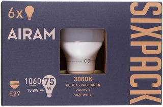 Airam Led 10,8W Vakiolamppu Opaali E27 1060Lm 3000K Sixpack