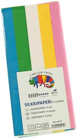 Karto Silkkipaperi Värilajitelma 50X70cm 5Ark/Pkt