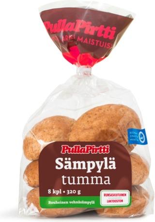 Pulla-Pirtti Sämpylä Tumma 8/320G Laktoositon Runsaskuituinen Lisäaineeton Rouheinen Vehnäsämpylä