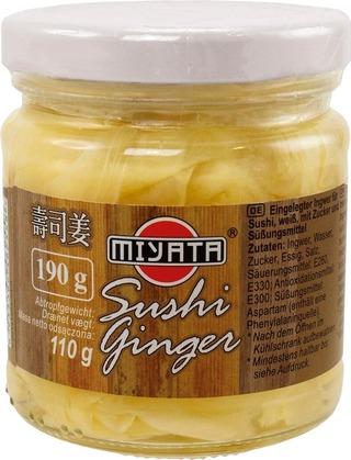 Miyata Sushi Ginger 190/110G Viipaloitu Inkivääri Riisiviinietikkaliemessä
