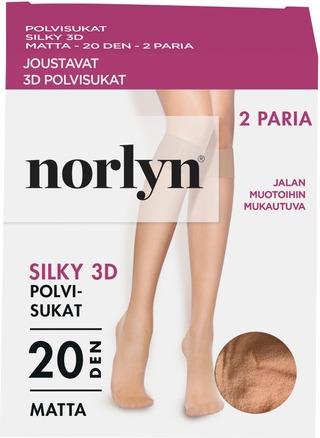 Norlyn Naisten Polvisukat Silky 20Den 2-Pack