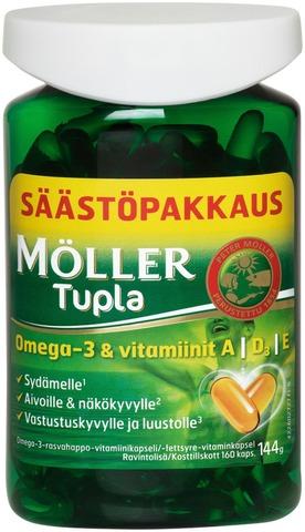 Möller Tupla Säästöpakkaus Omega-3-Rasvahappo-Vitamiinikapseli Ravintolisä 144G/160Kaps